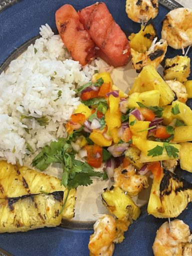 Caribbean Grilled Shrimp with coconut lime rice