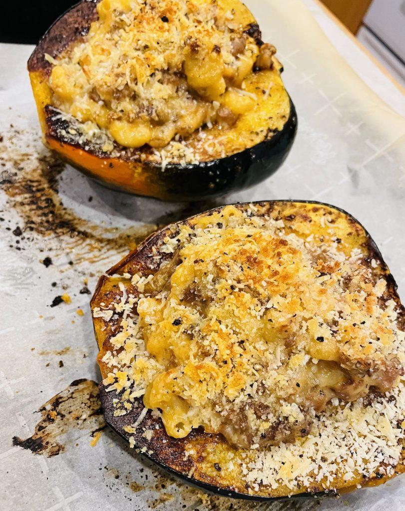 Macaroni and Cheese Stuffed Acorn Squash