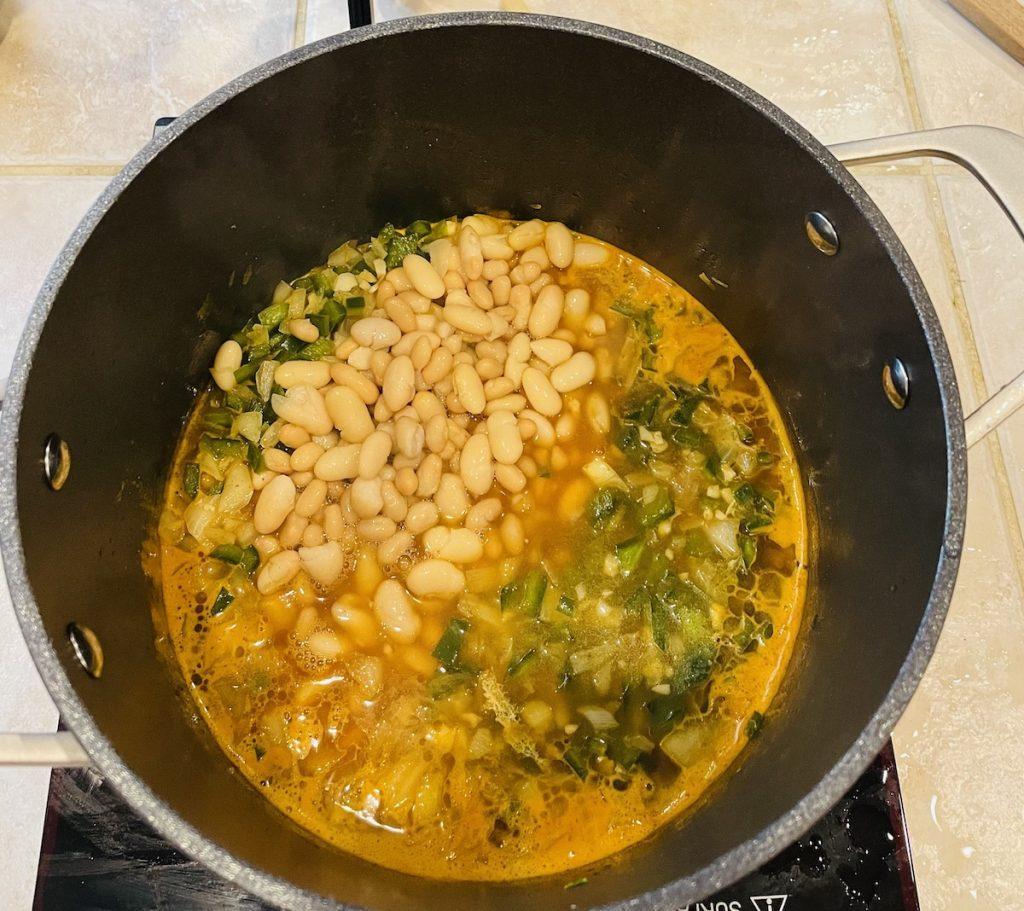 White Bean Chicken Chili Simmering in Pot